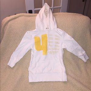 3/4 Length Sporty White Sweatshirt